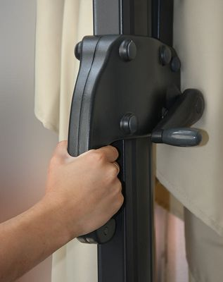 Ampelschirm, Gastronomie, 3x3m (Ø4,24m) Polyester Alu/Stahl 23kg, Flap, creme ohne Ständer – Bild 6