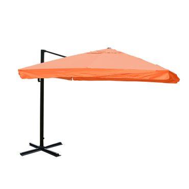 Ampelschirm, Gastronomie, 3x3m (Ø4,24m) Polyester Alu/Stahl 23kg, Flap, terrakotta ohne Ständer – Bild 1