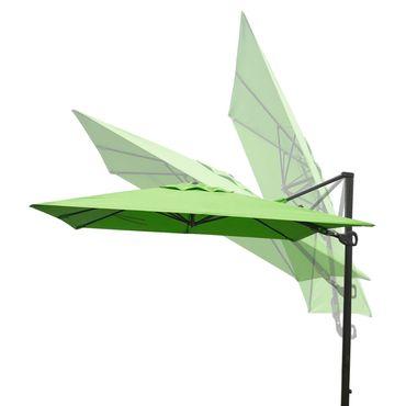 Gastronomie-Ampelschirm, 3x3m (Ø4,24m) schwenkbar drehbar, Polyester/Alu 31kg, grün mit Ständer – Bild 4