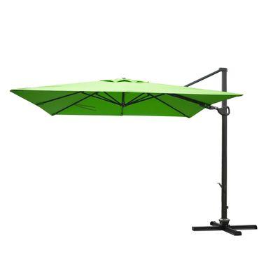 Gastronomie-Ampelschirm, 3x3m (Ø4,24m) schwenkbar drehbar, Polyester/Alu 31kg, grün ohne Ständer – Bild 1