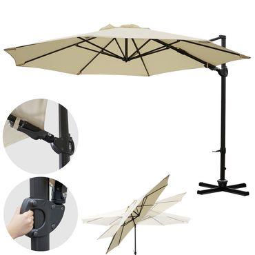 Gastronomie-Ampelschirm, Sonnenschirm, schwenkbar drehbar Ø 3,5m Polyester/Alu 34kg, creme ohne Ständer – Bild 2