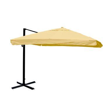 Gastronomie-Ampelschirm, 3,5x3,5m (Ø4,95m) Polyester/Alu 25kg, Flap, creme ohne Ständer – Bild 1