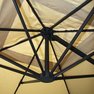 Gastronomie-Ampelschirm, 3x3m (Ø4,24m) Polyester Alu/Stahl 23kg, braun mit Ständer, drehbar – Bild 4