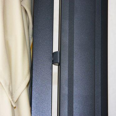 Gastronomie-Ampelschirm, 3x3m (Ø4,24m) Polyester Alu/Stahl 23kg, braun ohne Ständer – Bild 8