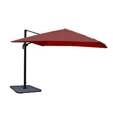 Gastronomie-Ampelschirm, Sonnenschirm 3x3m (Ø4,24m) Polyester Alu/Stahl 23kg, bordeaux mit Ständer, drehbar – Bild 1