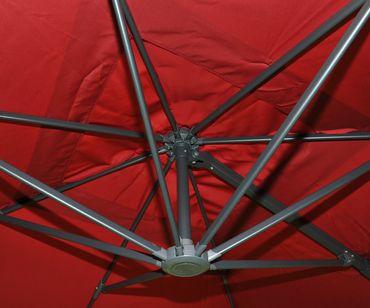 Gastronomie-Ampelschirm, Sonnenschirm 3x3m (Ø4,24m) Polyester Alu/Stahl 23kg, bordeaux ohne Ständer, drehbar – Bild 5