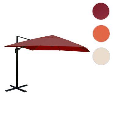 Gastronomie-Ampelschirm, Sonnenschirm 3x3m (Ø4,24m) Polyester Alu/Stahl 23kg, bordeaux ohne Ständer, drehbar – Bild 7