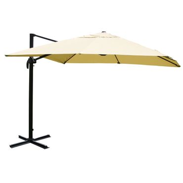 Gastronomie-Ampelschirm, Sonnenschirm 3x3m (Ø4,24m) Polyester Alu/Stahl 23kg, creme ohne Ständer – Bild 1