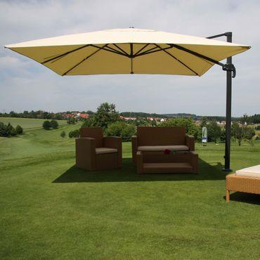 Gastronomie-Ampelschirm, Sonnenschirm 3x3m (Ø4,24m) Polyester Alu/Stahl 23kg, creme ohne Ständer, drehbar – Bild 2