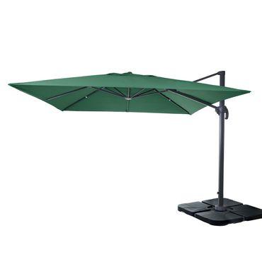 Gastronomie-Ampelschirm, Sonnenschirm 3x3m (Ø4,24m) Polyester Alu/Stahl 23kg, dunkelgrün mit Ständer, drehbar – Bild 1