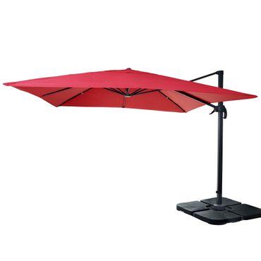 Gastronomie-Ampelschirm, Sonnenschirm 3x3m (Ø4,24m) Polyester Alu/Stahl 23kg, rot mit Ständer, drehbar – Bild 1