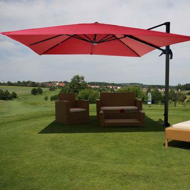 Gastronomie-Ampelschirm, Sonnenschirm 3x3m (Ø4,24m) Polyester Alu/Stahl 23kg, rot ohne Ständer, drehbar – Bild 2