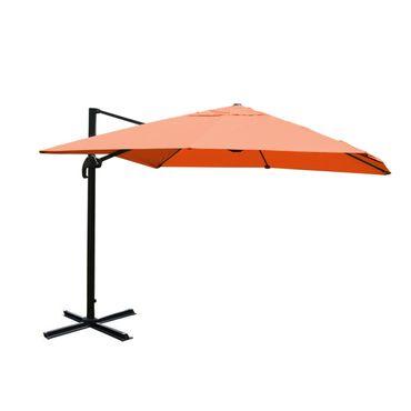 Gastronomie-Ampelschirm, Sonnenschirm 3x3m (Ø4,24m) Polyester Alu/Stahl 23kg, terrakotta ohne Ständer – Bild 1