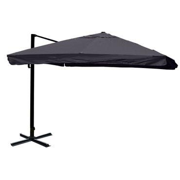Gastronomie-Ampelschirm, Sonnenschirm, 3x3m (Ø4,24m) Polyester/Alu 23kg, Flap, anthrazit ohne Ständer, drehbar – Bild 1