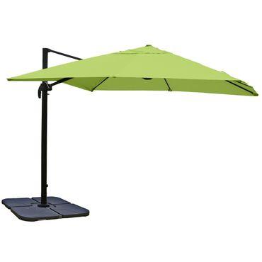 Gastronomie-Ampelschirm, Sonnenschirm, 3x3m (Ø4,24m) Polyester/Alu 23kg, grün mit Ständer, drehbar – Bild 1