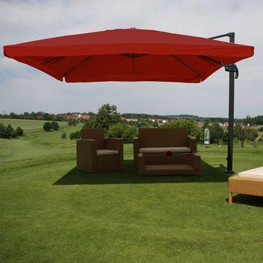 Gastronomie-Ampelschirm, Sonnenschirm, 3x4m (Ø5m) Polyester/Alu 26kg, Flap, bordeaux ohne Ständer, drehbar – Bild 2