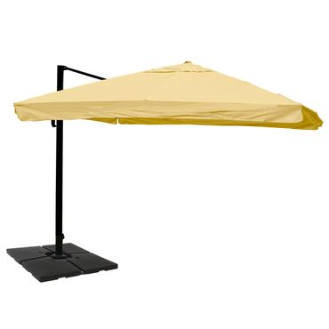 Gastronomie-Ampelschirm, Sonnenschirm, 3x4m (Ø5m) Polyester/Alu 26kg, Flap, creme mit Ständer – Bild 1