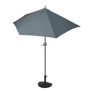 Sonnenschirm halbrund, Halbschirm Balkonschirm, UV 50+ Polyester/Alu 3kg, 300cm anthrazit mit Ständer – Bild 1