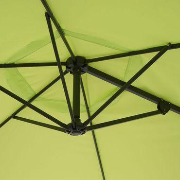 Wandschirm, Ampelschirm Balkonschirm Sonnenschirm, 3m neigbar, Polyester Alu/Stahl 9kg, grün-lemon - 27336 – Bild 6