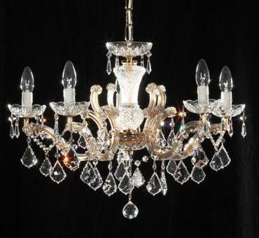 5 Arm Kronleuchter, SPECTRA Crystal SWAROVSKI vergoldet – Bild 2