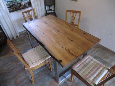 Tisch aus antiken Eichenholzbalken
