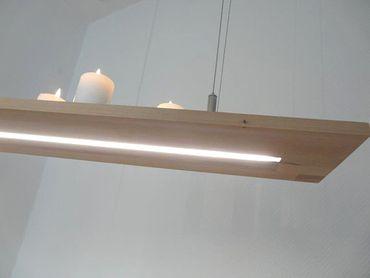 LED Hängeregal Leuchte Holz Buche, 160cm – Bild 2