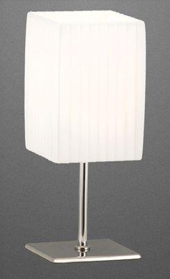 Tischlampe Metall chrom, Textil weiss, Schalter – Bild 1