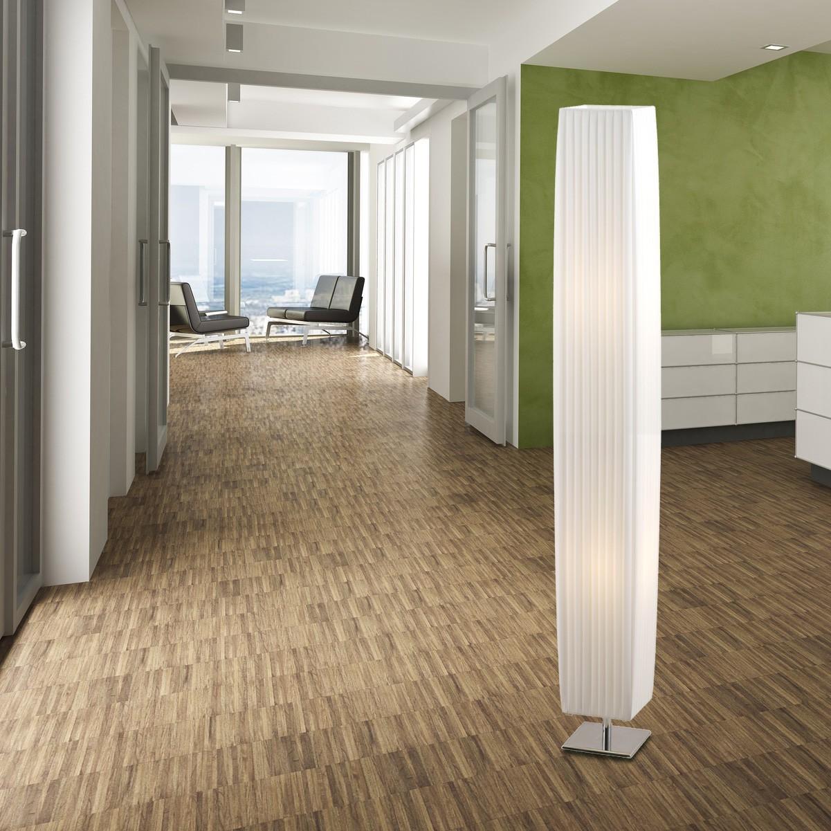 stehlampe metall chrom textil weiss schalter stehlampen. Black Bedroom Furniture Sets. Home Design Ideas
