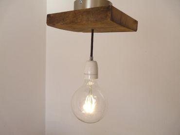 Deckenlampe aus rustikalen Eichenholz, 18x22cm – Bild 1