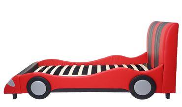 Bett, Auto Junge Kinderbett Jugendbett, Lattenrost Kunstleder Holz 190x100cm schwarz-rot - 43181 – Bild 3
