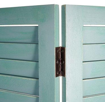 Paravent, Raumteiler Trennwand Sichtschutz, Shabby-Look Vintage, 170x120cm ~ grün – Bild 3