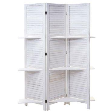 Paravent, Trennwand Raumteiler mit Regalböden 170x125cm, Shabby Look weiss/weiss - 43188