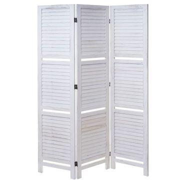 Paravent, Trennwand Raumteiler mit Regalböden 170x125cm, Shabby Look weiss/weiss - 43188 – Bild 3
