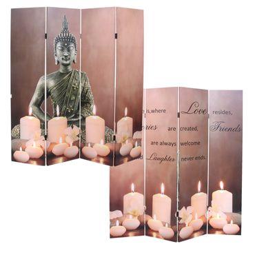 LED-Paravent Buddha, Trennwand Raumteiler, Timer netzbetrieben 180x160cm 12 LEDs - 43220 – Bild 1