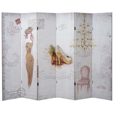 Foto-Paravent Vintage, Raumteiler Trennwand, Glitzer Retro Fashion ~ 180x240cm – Bild 4