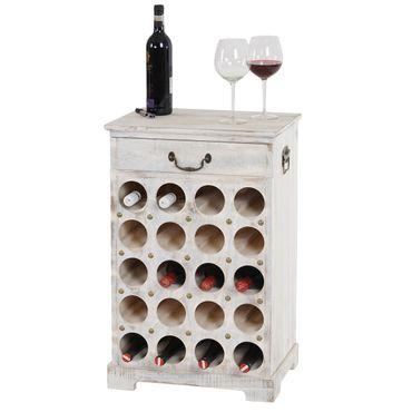Weinregal Lucan, Flaschenregal Regal für 20 Flaschen, 76x48x31cm, Shabby-Look, Vintage weiss - 43253 – Bild 1