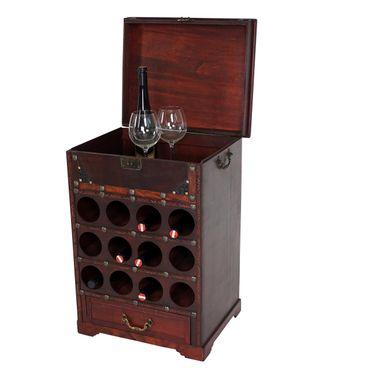 Weinregal Calvados, Flaschenregal Regal Holzregal, für 12 Flaschen Kolonialstil 69x47x38 cm - 43257 – Bild 1