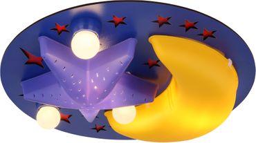 Deckenlampe DUNNA, MDF blau, Kunststoff gelb, Globo 15738D
