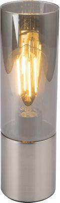 Tischlampe ANNIKA, nickel matt, Glas rauch, Globo 21000N