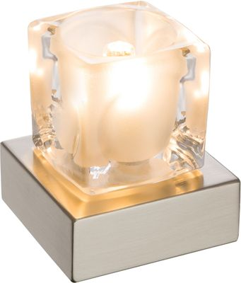 Tischlampe NUBUK, Metall silberfarben, Glas klar, Globo 21980L