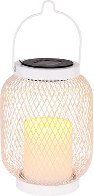 Solarlampe, Metall weiss, Kunststoff weiss, Globo 33542