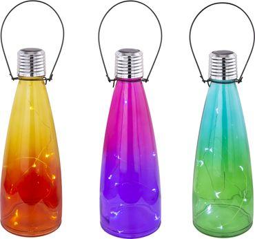 Solarlampe, 12er Set, LED, Glas, gelb, Globo 33587-12