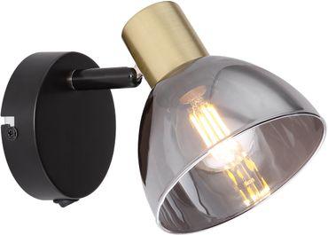 Strahler, Metall schwarz, Glas rauch, Globo 54305-1