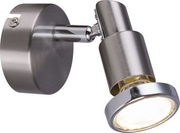LED Strahler LOSSA, nickel matt, Chromring, Globo 57384-1