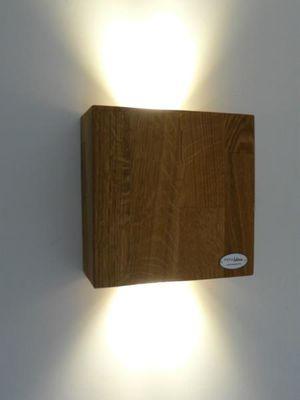 LED Antikholz Wandlampe Holz Eiche geölt 17cm – Bild 1