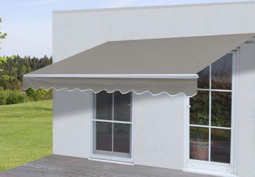 Alu-Markise, Gelenkarmmarkise Sonnenschutz 3x2,5m Polyester, grau-braun – Bild 1