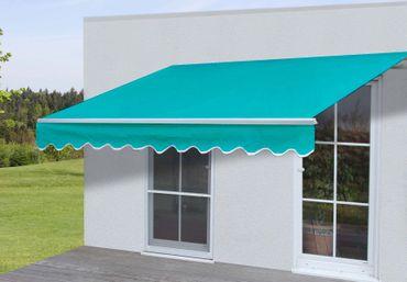 Alu-Markise, Gelenkarmmarkise Sonnenschutz 2,5x2m Polyester Türkis – Bild 1