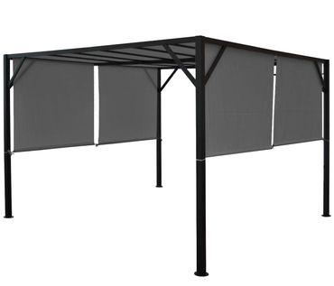 Pergola grau 3x3m, Garten Pavillon Terrassenüberdachung, stabiles 6cm-Stahl-Gestell + Schiebedach  – Bild 2