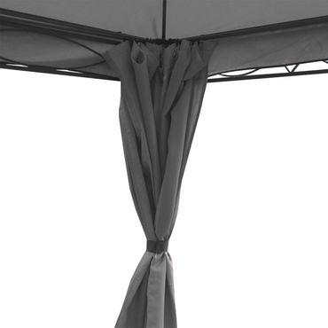 Pergola grau 4x3m, Garten Pavillon, stabiles 7cm-Gestell mit Seitenwand + Moskitonetz – Bild 4