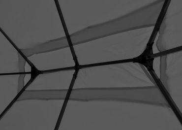 Pergola grau 4x3m, Garten Pavillon, stabiles 7cm-Gestell mit Seitenwand + Moskitonetz – Bild 5